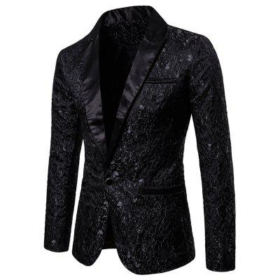 Solid Color Jacquard Fashion Men's One Button Blazers