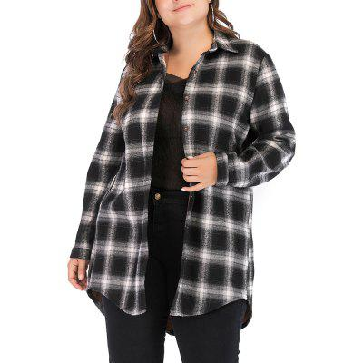 Large Size Women's Plaid Long Sleeve Plus Casual Shirt