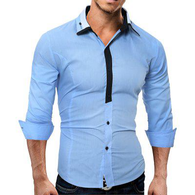 Stylish Casual Contrast lapel Business Mens Long-Sleeve Shirt