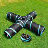 New Cat Tunnel Design Collapsible 4-WAY Pet Toy Tunnel Toy with Crinkle - BLACK