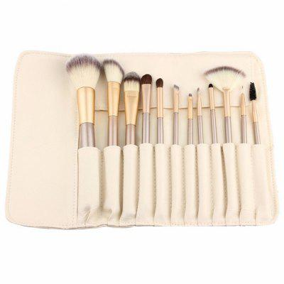 12PCS Makeup Brushes Set Champagne Metal Delicate Portable With Brush Bag