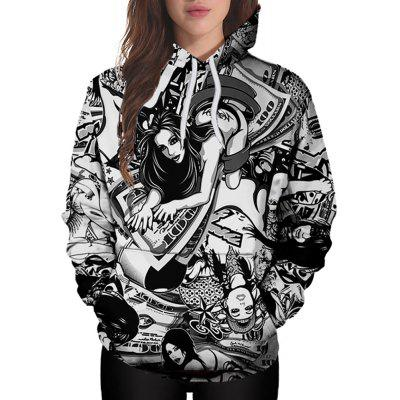 3D Winter Sports Hold Money Woman Print Lady Hoodie