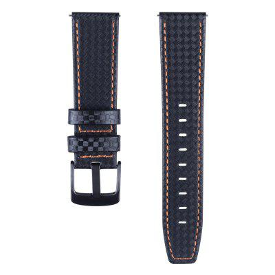 Carbon Fiber Genuine Leather Watch Band for AMAZFIT Watch 1/2/2S /Ticwatch Pro