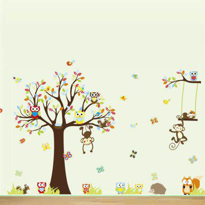 Cartoon Color Owl Big Tree Monkey Wall Sticker Household Decoration Sticker