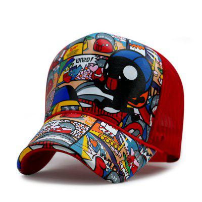 Cute cartoon truck hat outdoor sun protection visor breathable mesh cap + adjust