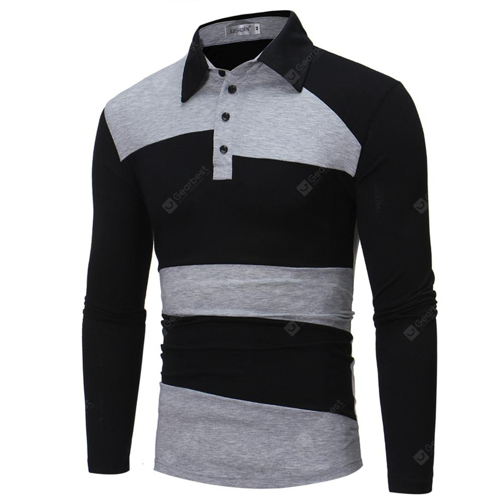 Autumn Business Stitching Lapel Mens Long-Sleeve Shirt