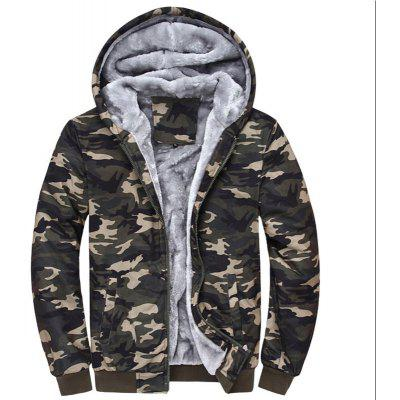New Man Fashion Autumn Winter Warm Faux Fur Lining Camouflage Hooded Hoodie