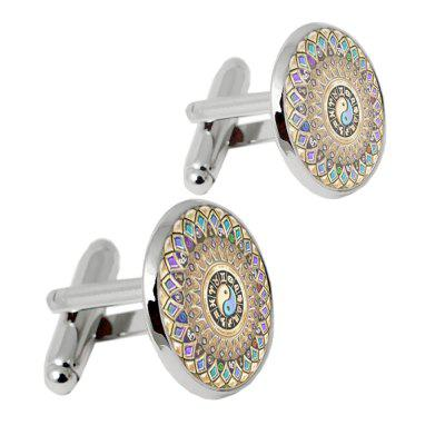 Alloy Glass Material/ Printing Process of Classical Pattern Men Cufflinks