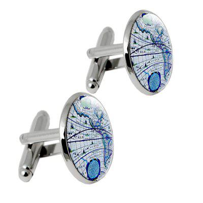 Alloy Glass Material/ Electroplate Printing Process Map Pattern Men Cufflinks
