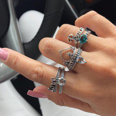 6 PCS/Set Bohemian Crown Heart Star LOVE Knuckle Rings Set for Women