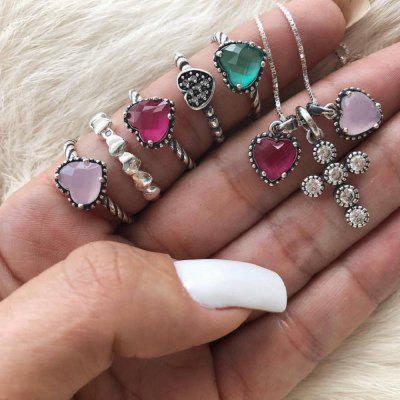 Heart Cross Design 6PCS/Set Necklace Ring Set For Women