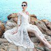 Two Sets of Three-Dimensional Embroidered White Lace Screen Dress and Long Ski - WHITE