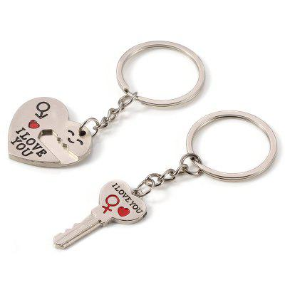 Simple Drop Letters Love Stitching Couple Keychain