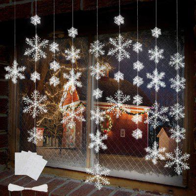 Christmas Snowflake Ornaments Garland 8 Meters White Strings for Home Christmas