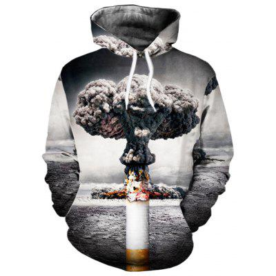 Autumn and Winter Abstract Cigarette 3D Digital Printing Hooded Sweatshirt