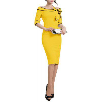 U-Boot-Ausschnitt Schulterfrei Bowknot Slim Color Block Bodycon Pencil Dress