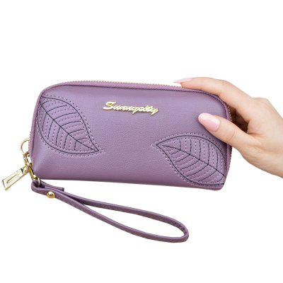 New Embroidered Leaves Ladies Long Zipper Clutch Wallet Fashion Purse