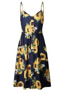 08eac189c6 Ladies Print Floral Summer Dress Sundress Sexy V-Neck Sleeveless Strap Maxi  Vin