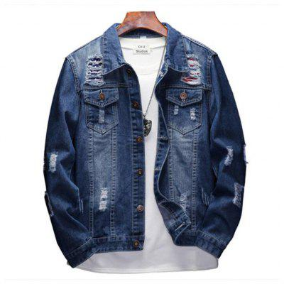 New High Quality Hole Cowboy Couple Jeans Jacket Letter Embroidered Jacket Coat