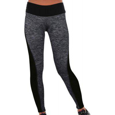 Elastic Sports Tight Running Pants Black Gray Splicing