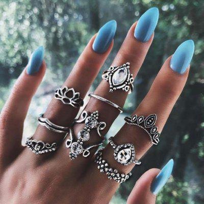 9 P/Set Bohemian Crystal Crown Ring Sets for Women  Silver Color Lotus Stone Rin