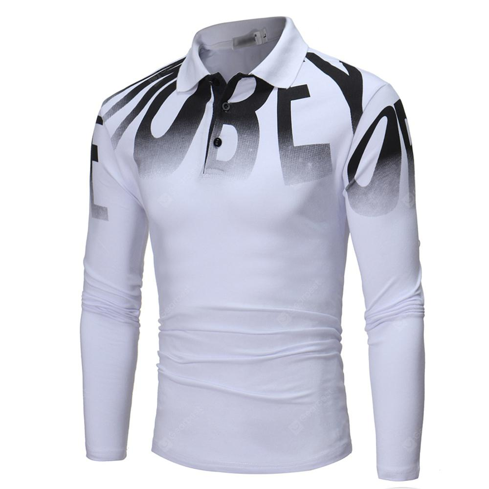 Autumn Business Fashion Letter Printing Mens Long-Sleeve Shirt