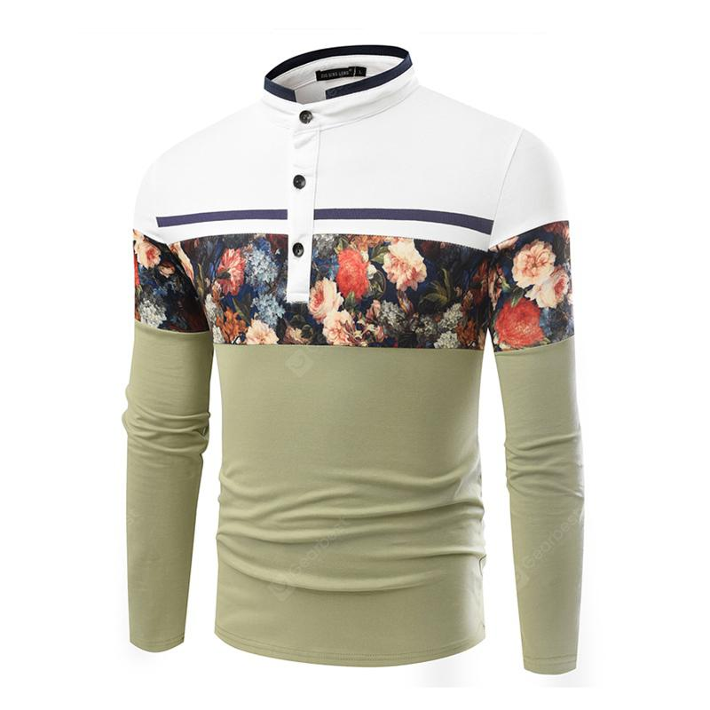 Business Fashion Leisure Stitching Mens Long-Sleeve T-Shirt