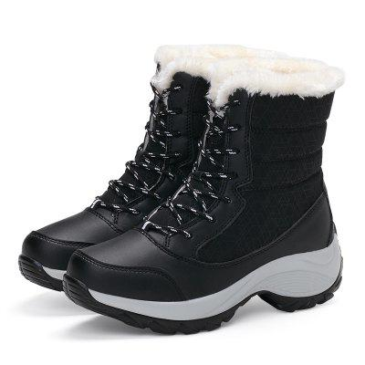 Women Boots Warm Fur Winter Boots Fashion Women Shoes Lace Up Platform Ankle