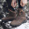 Winter Shoes Plush Fur Lace up Men Boots Winter Ankle Boots Sneakers Outdoor - BROWN