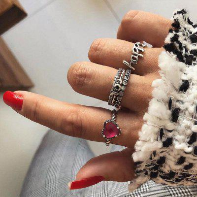 5 PCS/SET Crystal Heart Rings Set for Women Boho Charm Jewelry Moon Finger Ring