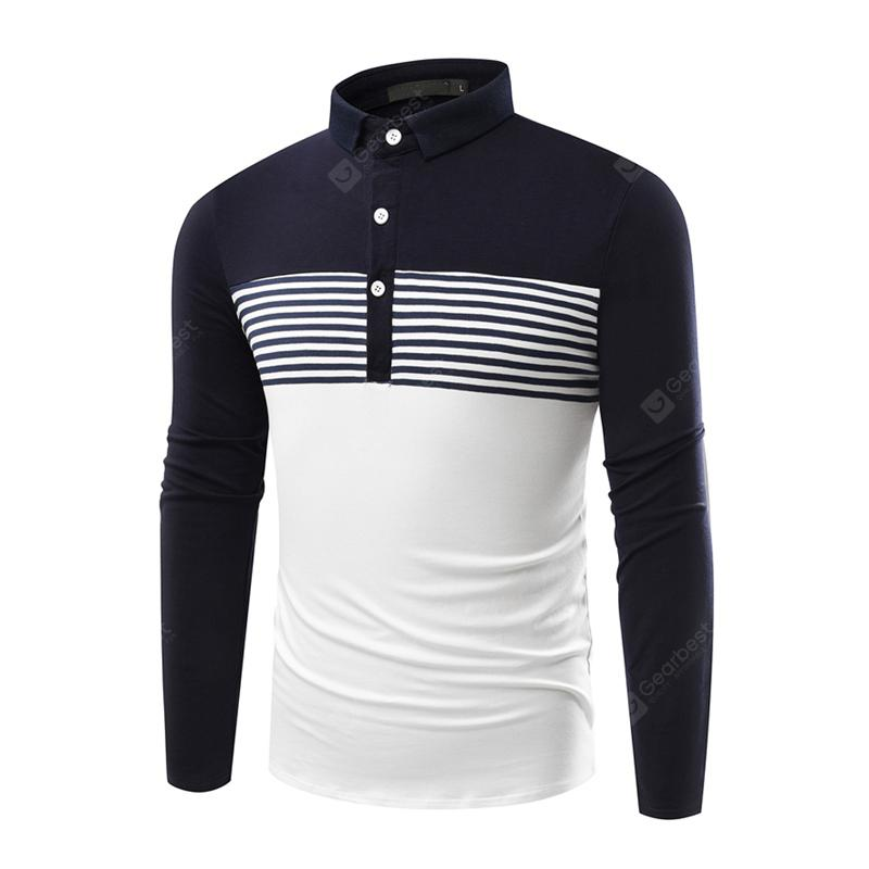 Fashion Leisure Stitching Stripe Men's Business Long Sleeve T-shirt