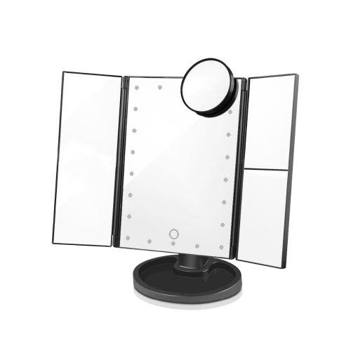 Gearbest LED Light Touch Screen Makeup Mirror Desktop 3 Folding 1X/2X/3X/10X Magnifying - BLACK