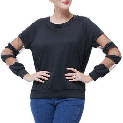 Round Collar Splicing Hollow Out T Shirt