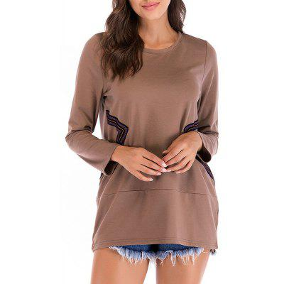 Round Collar Long Sleeve Casual T Shirt