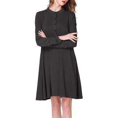 Large Size Women's Round Neck Loose Casual Bottoming Long Sleeve Dress