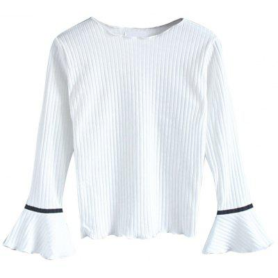 Sweet Knit T-shirt with Trumpet Sleeve Collar