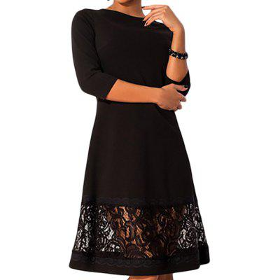 New Explosion Models XL Women'S Lace Stitching Tri-Color Dress