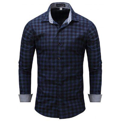 Fashion New Men's Luxury Plaids Casual Slim Formal Stylish Dress Shirts 6408