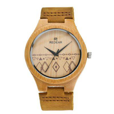 Leather Strap Wristwatch Bamboo Quartz Lover's Watch