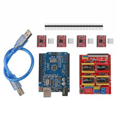 CNC Shield UNO-R3 Board 4xA4988 Driver Kit With Heat Sink For Arduino Engraver