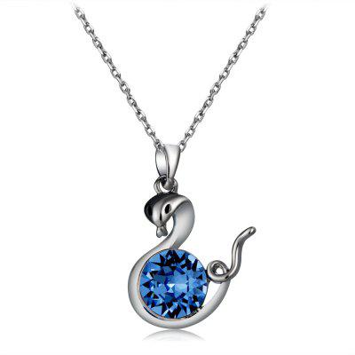 Fashion Silver Snake with Blue Crystal Pendant Necklace