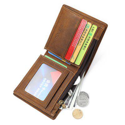 Wallet Small Vintage Crazy Horse Leather Short Purse Bifold