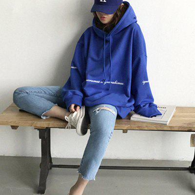 Loose Hooded Letter Slim Sweater Long Sleeve Blouse Woman