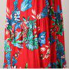 A Floral Skirt with Loose Sleeves and A High Waist - RED