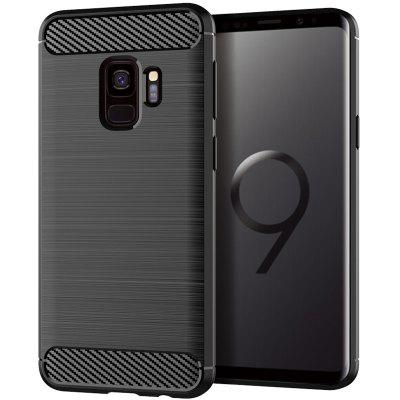 for Samsung Galaxy S9 Brushed Carbon Fiber Pattern Silicone Drop Protection Case