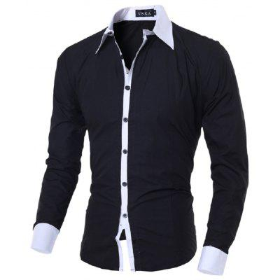 Luxury Mens Casual Dress Shirt Slim Fit Formal Long Sleeve Tops HOT CC01