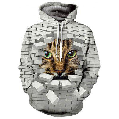 Men And Women Couple Cat Long Sleeve Hoodie Casual Baseball Wear Pullover
