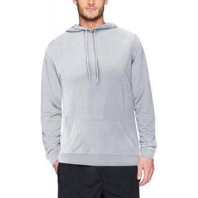 Mens Black Plain Pullover Hooded Sweatshirt Hoodies with Pockets