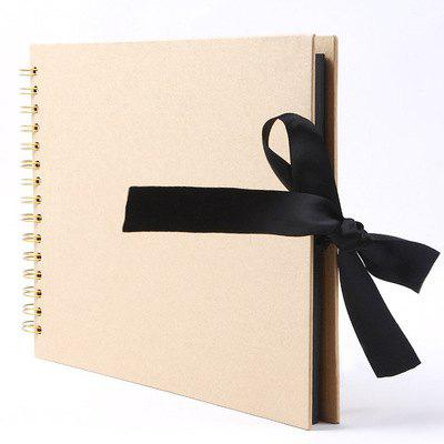 YEDUO 40 Pages Ribbon Bow Kraft Paper Scrapbook Photo Album Display Book Wedding