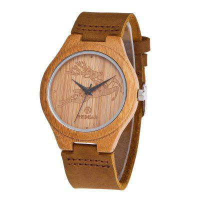 Personality Design Deer Leather Strap Wristwatch Natural Bamboo Quartz Watch